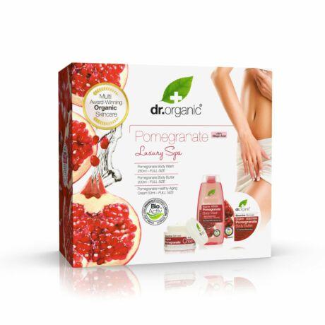 Dr. Organic Luxury Spa Gránátalmás Ajándékcsomag (Öregedésgátló arckrém, Tusfürdő, Testvaj)